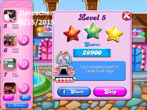 Deteacher: Candy Crush Saga: Level 005 (iOS) 28,900 points on 2015-06-15 20:56:55