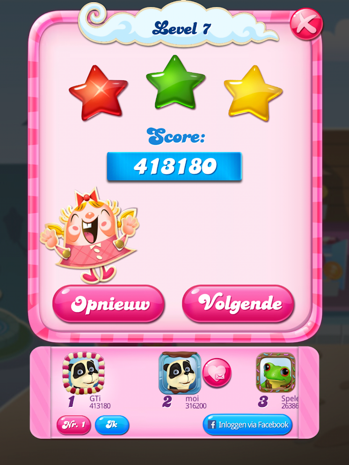 Candy Crush Saga: Level 0007 413,180 points