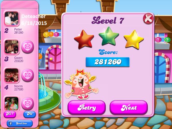 Candy Crush Saga: Level 007 281,260 points