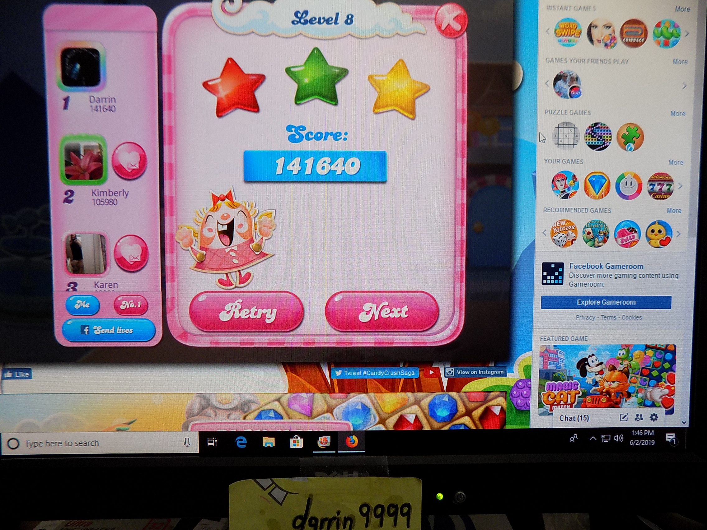 darrin9999: Candy Crush Saga: Level 008 (Web) 141,640 points on 2019-06-02 12:53:11