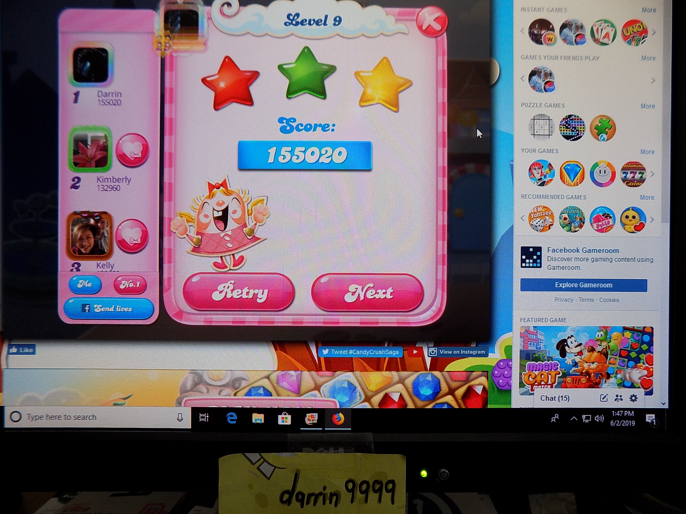 darrin9999: Candy Crush Saga: Level 009 (Web) 155,020 points on 2019-06-02 12:54:26