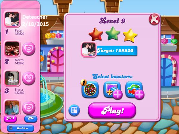Deteacher: Candy Crush Saga: Level 009 (iOS) 189,820 points on 2015-06-18 19:20:31