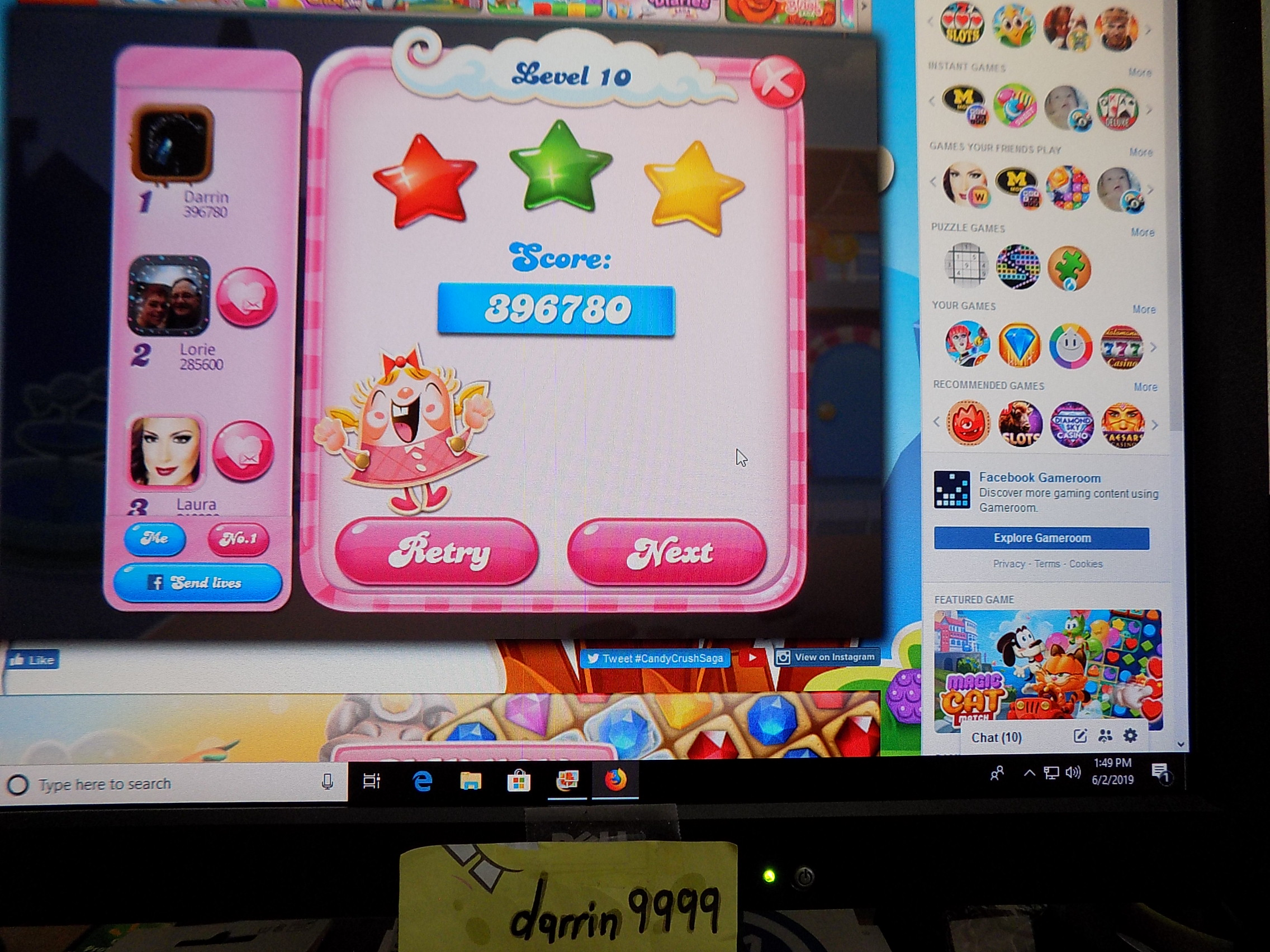darrin9999: Candy Crush Saga: Level 010 (Web) 396,780 points on 2019-06-02 12:55:36