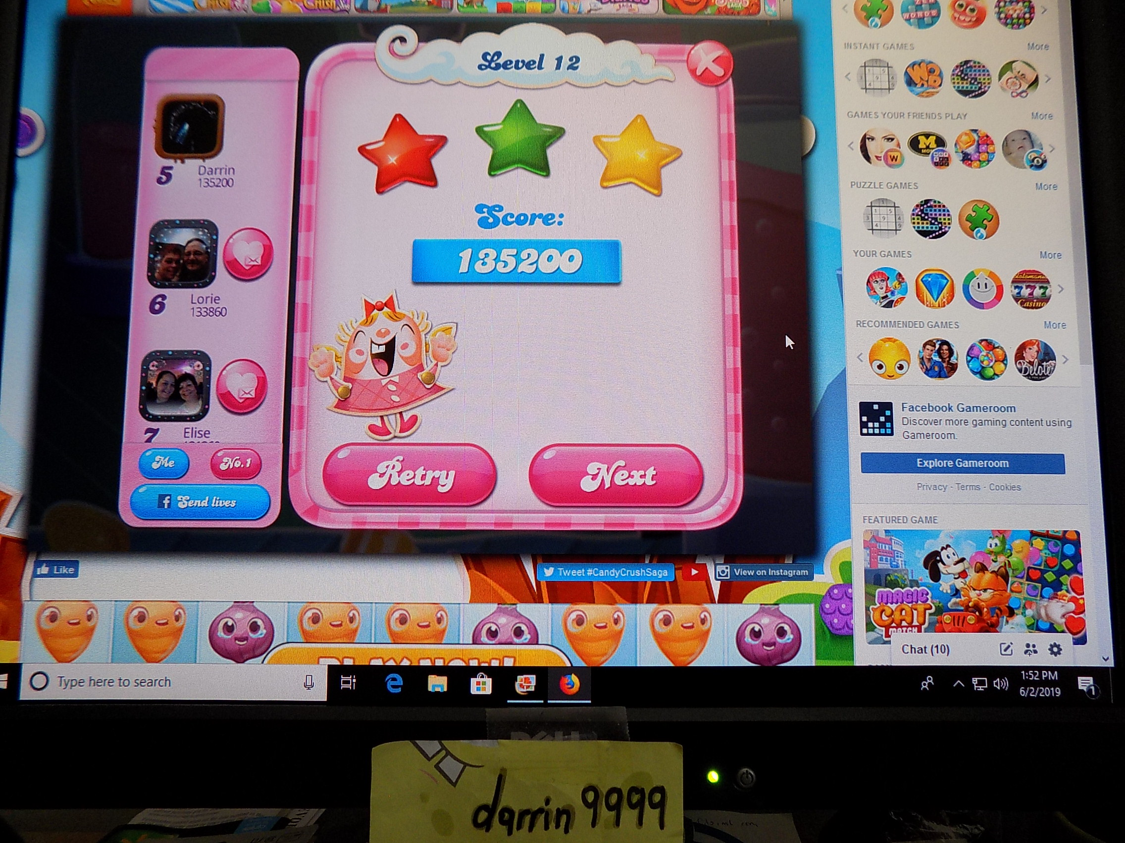 darrin9999: Candy Crush Saga: Level 012 (Web) 135,200 points on 2019-06-02 12:58:17