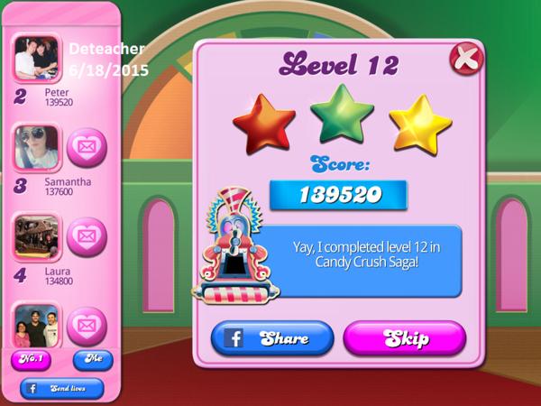 Deteacher: Candy Crush Saga: Level 012 (iOS) 139,520 points on 2015-06-18 19:24:56