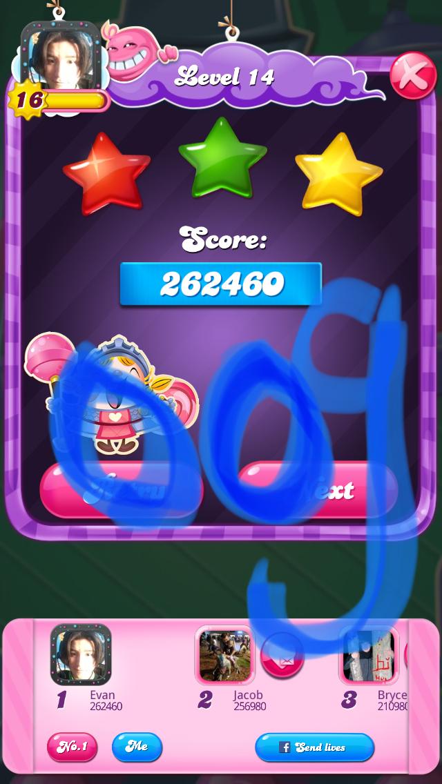 OOG: Candy Crush Saga: Level 014 (iOS) 262,460 points on 2018-03-20 17:07:40