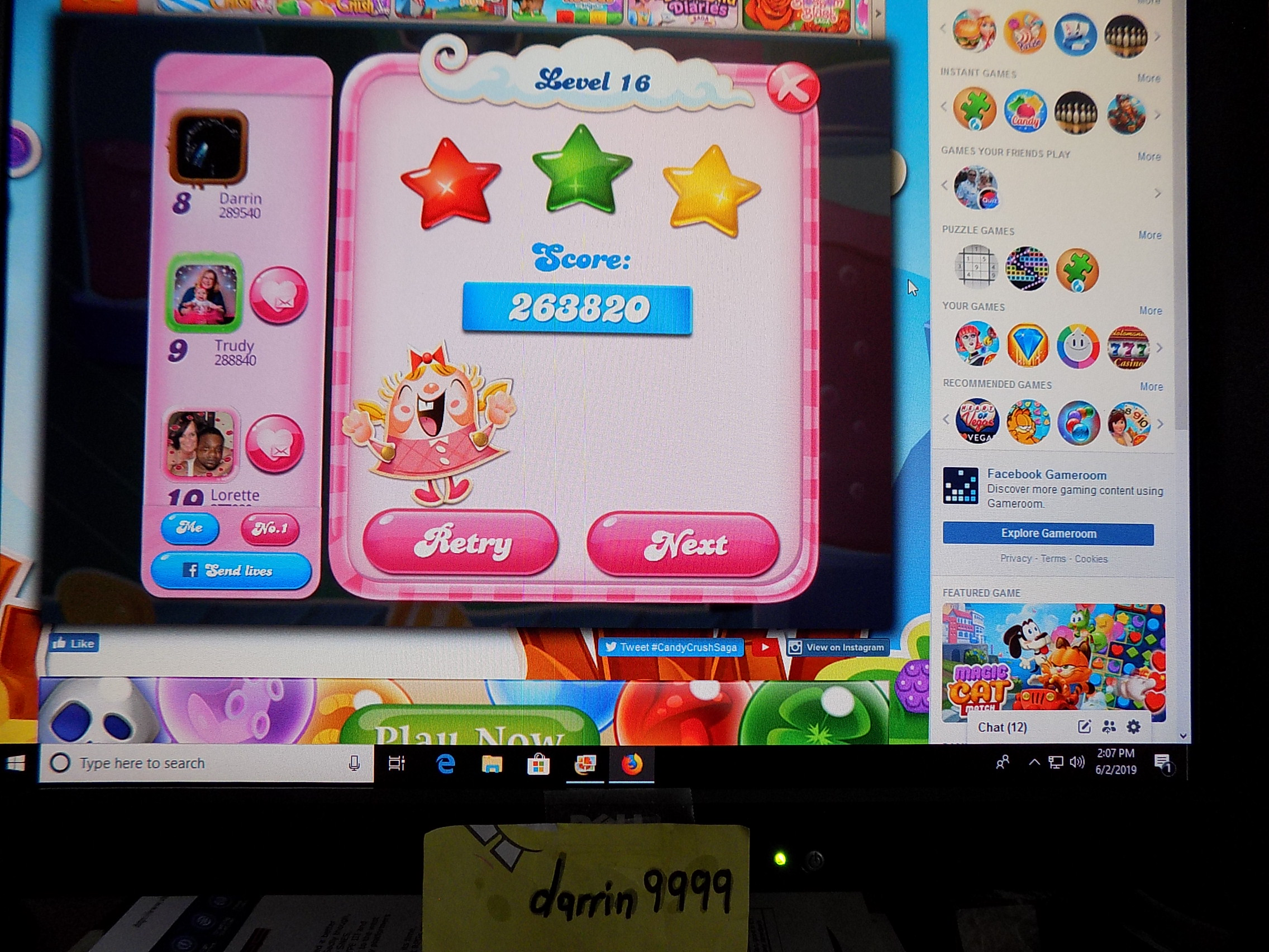 darrin9999: Candy Crush Saga: Level 016 (Web) 263,820 points on 2019-06-02 13:18:37