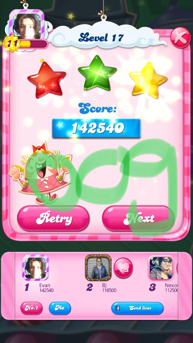 OOG: Candy Crush Saga: Level 017 (iOS) 142,540 points on 2018-03-04 13:33:53