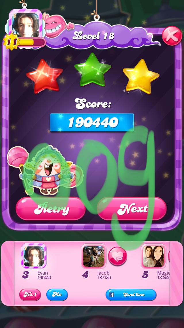 OOG: Candy Crush Saga: Level 018 (iOS) 190,440 points on 2018-03-04 13:43:40