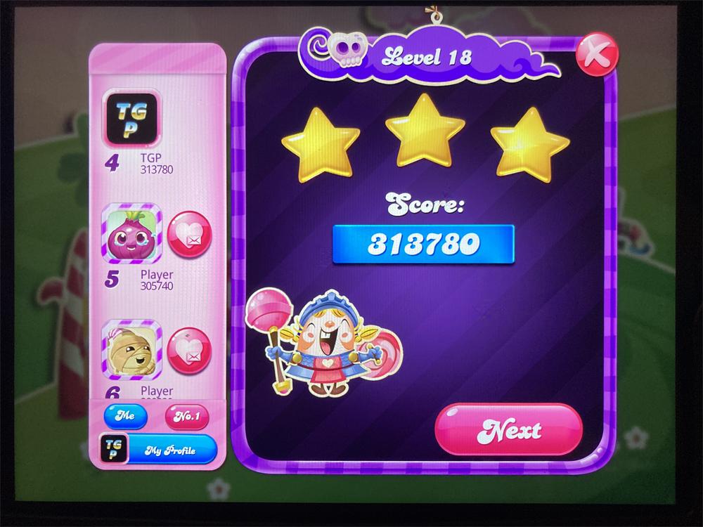 Candy Crush Saga: Level 018 313,780 points