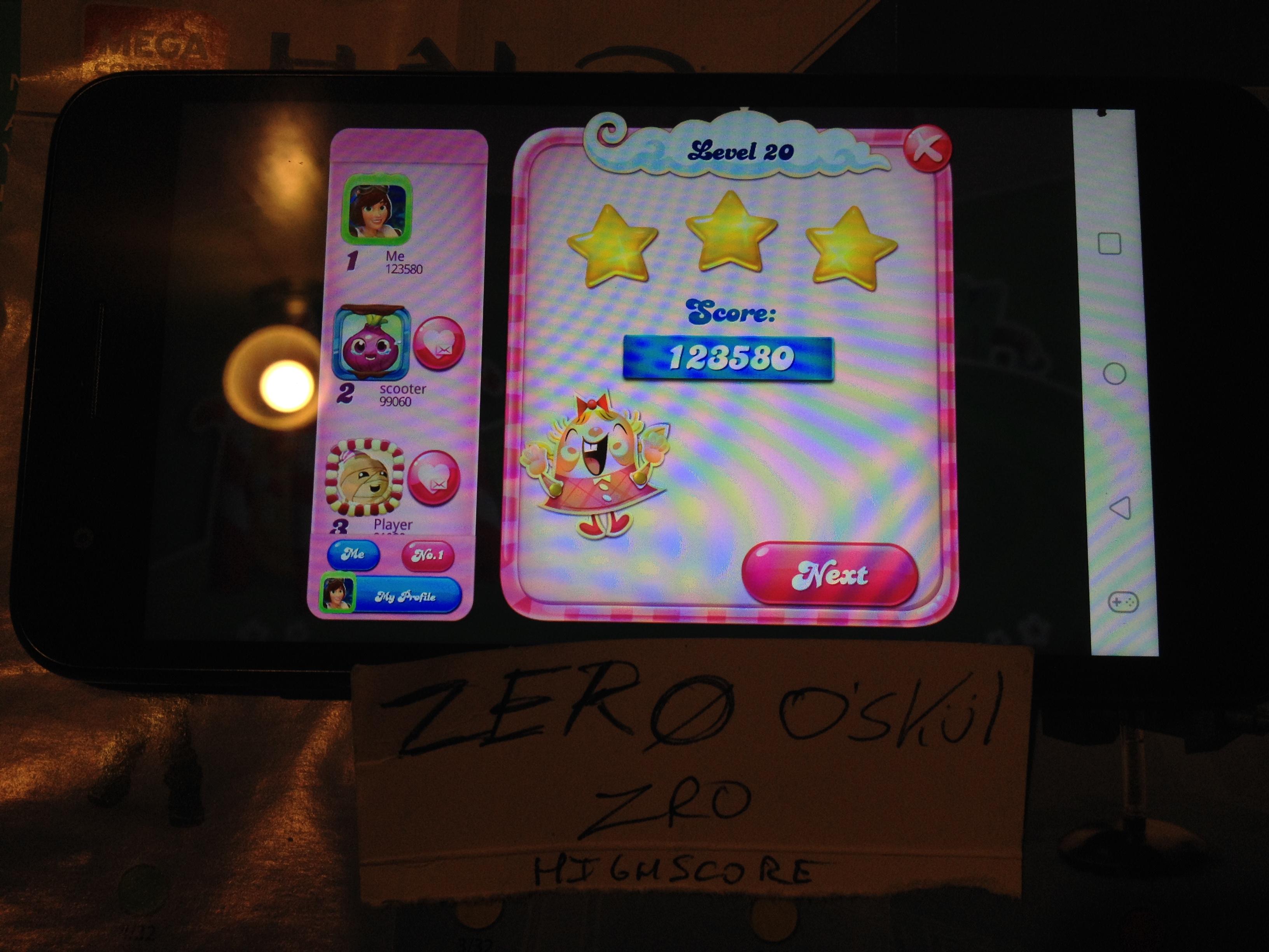 zerooskul: Candy Crush Saga: Level 020 (Android) 123,580 points on 2020-10-17 01:13:44