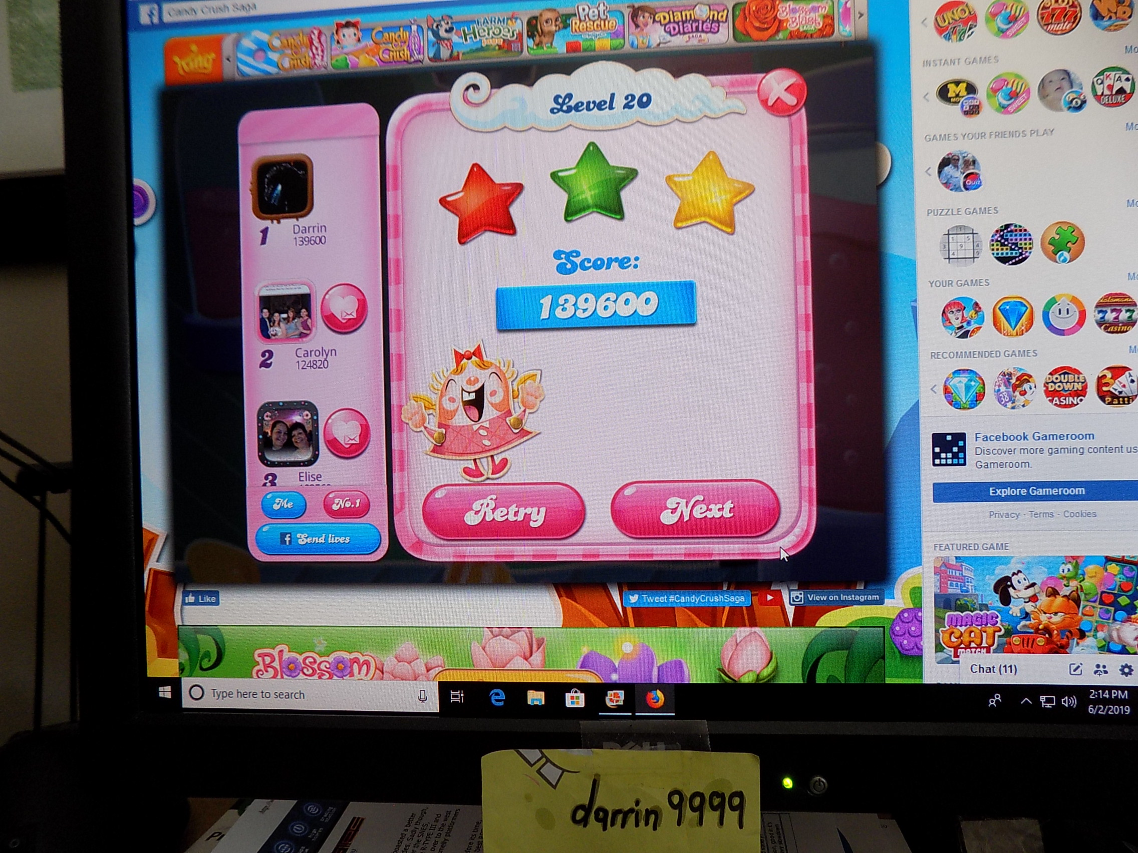 darrin9999: Candy Crush Saga: Level 020 (Web) 139,600 points on 2019-06-02 13:23:05