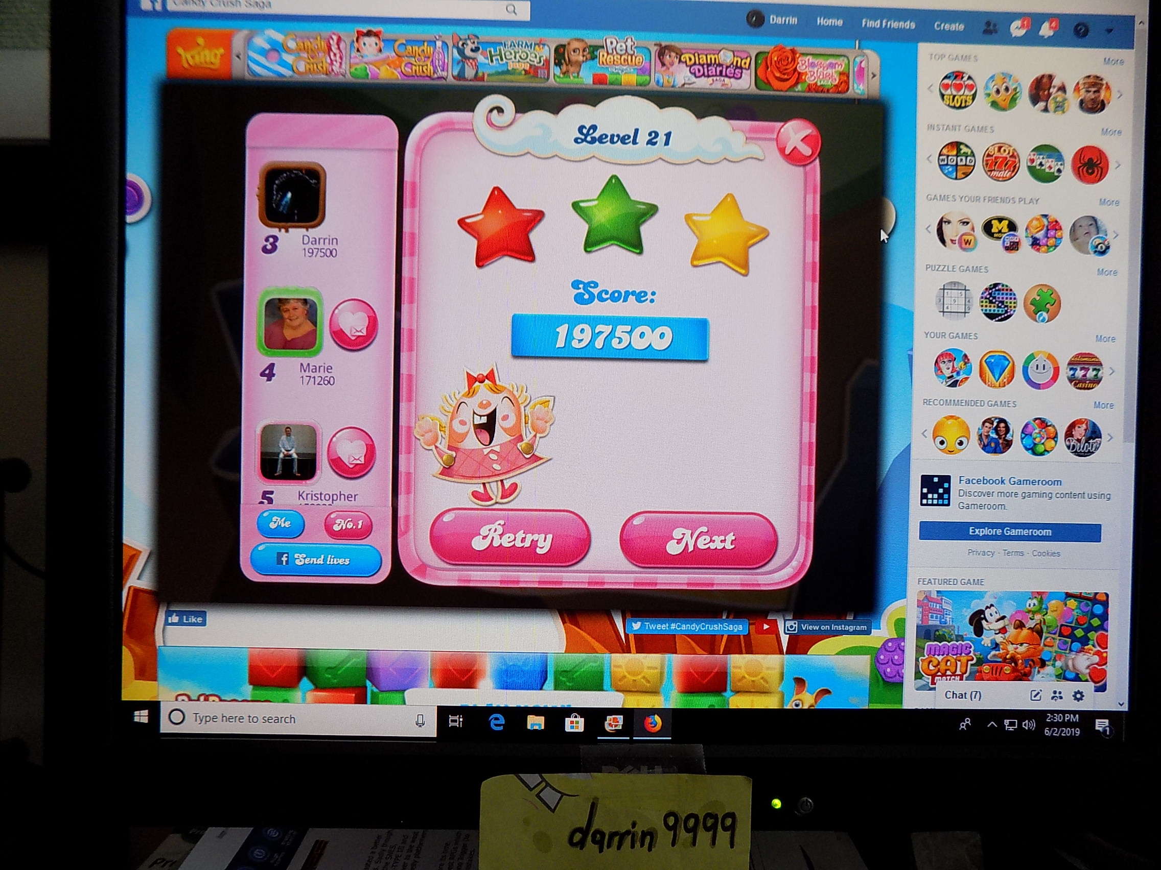 darrin9999: Candy Crush Saga: Level 021 (Web) 197,500 points on 2019-06-02 13:41:23