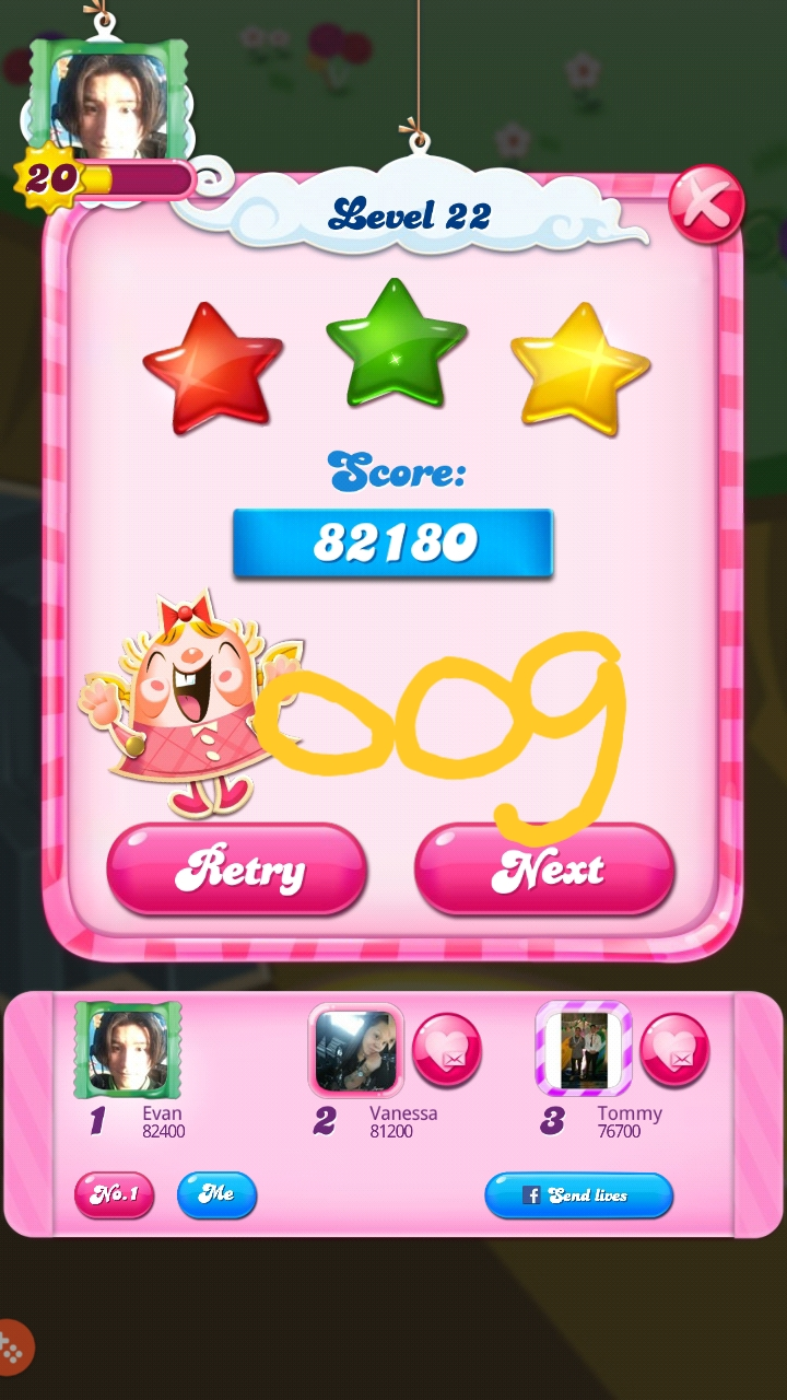 OOG: Candy Crush Saga: Level 022 (Android) 82,180 points on 2018-08-18 03:16:45