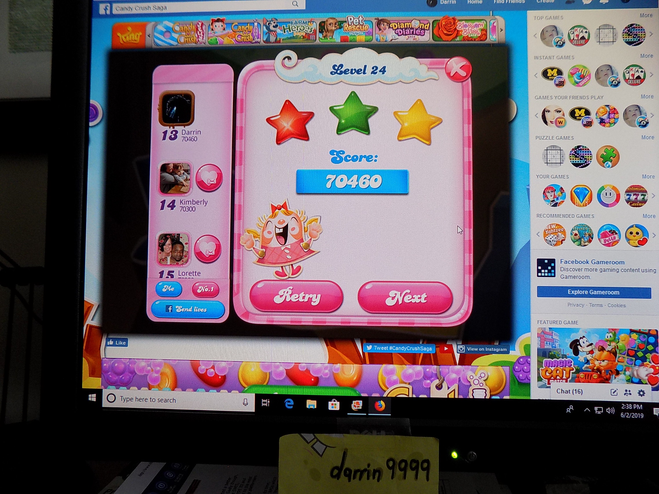 darrin9999: Candy Crush Saga: Level 024 (Web) 70,460 points on 2019-06-02 13:44:01