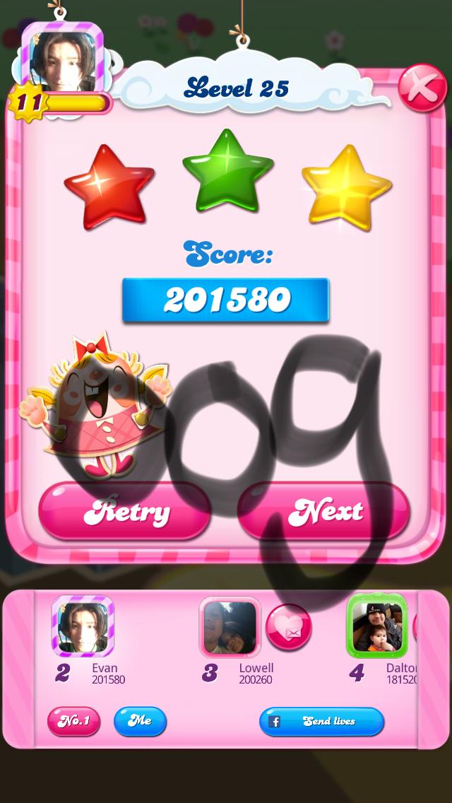 OOG: Candy Crush Saga: Level 025 (iOS) 201,580 points on 2018-03-04 14:39:21