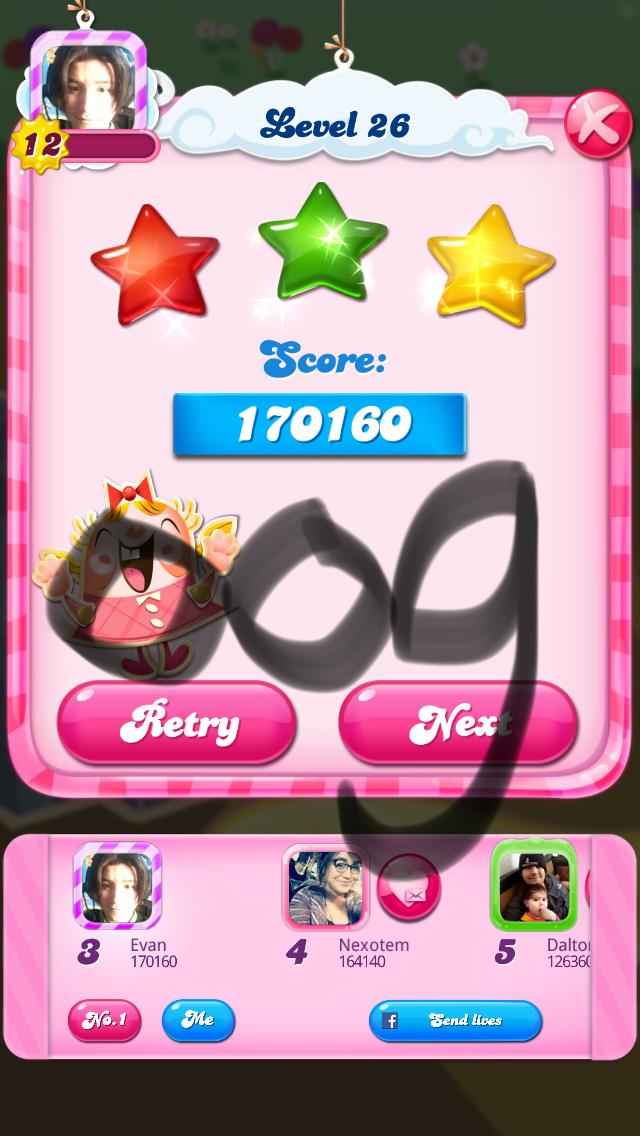 OOG: Candy Crush Saga: Level 026 (iOS) 170,160 points on 2018-03-04 17:59:35
