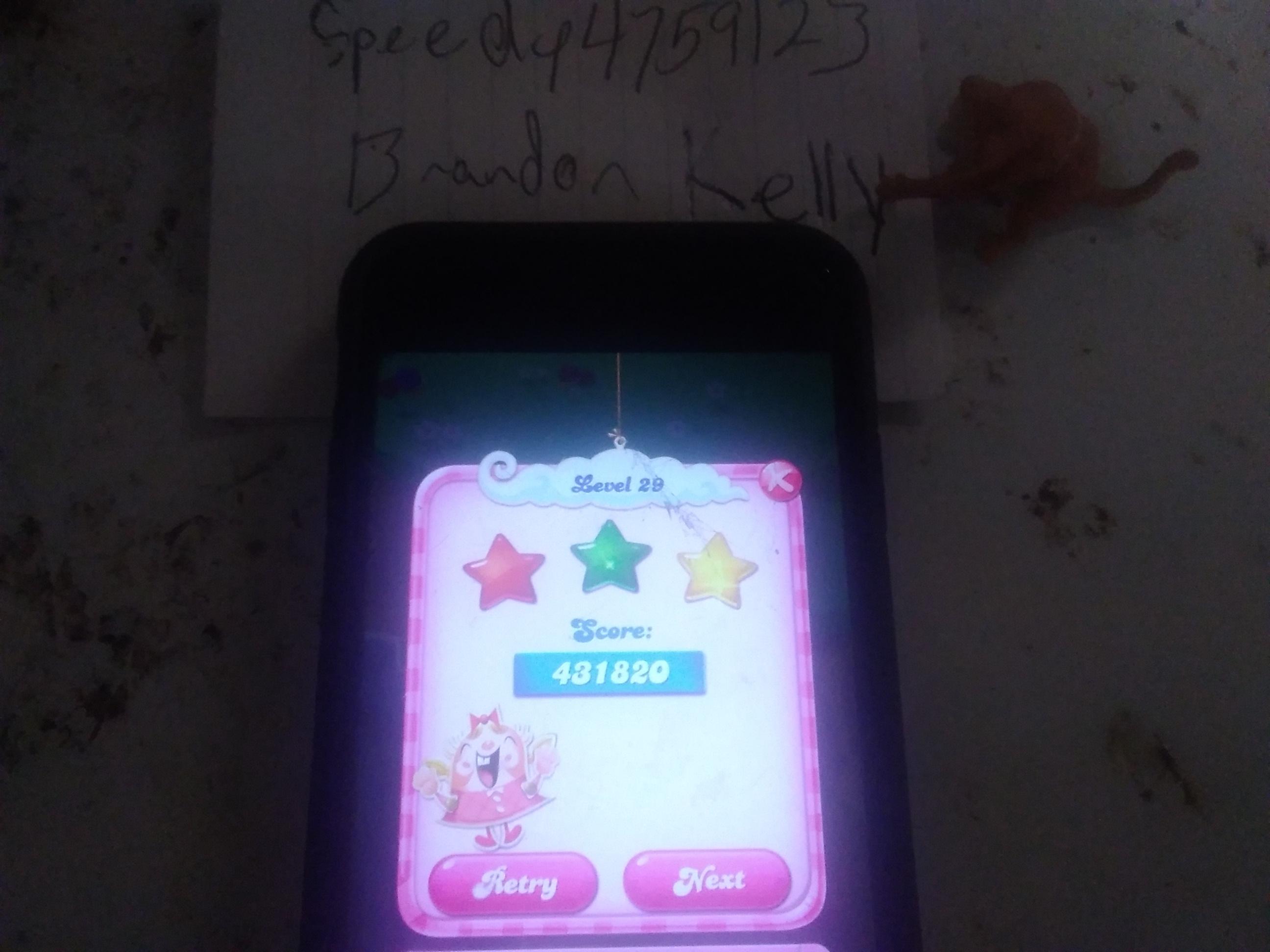 speedy4759123: Candy Crush Saga: Level 029 (iOS) 431,820 points on 2019-08-05 22:38:26
