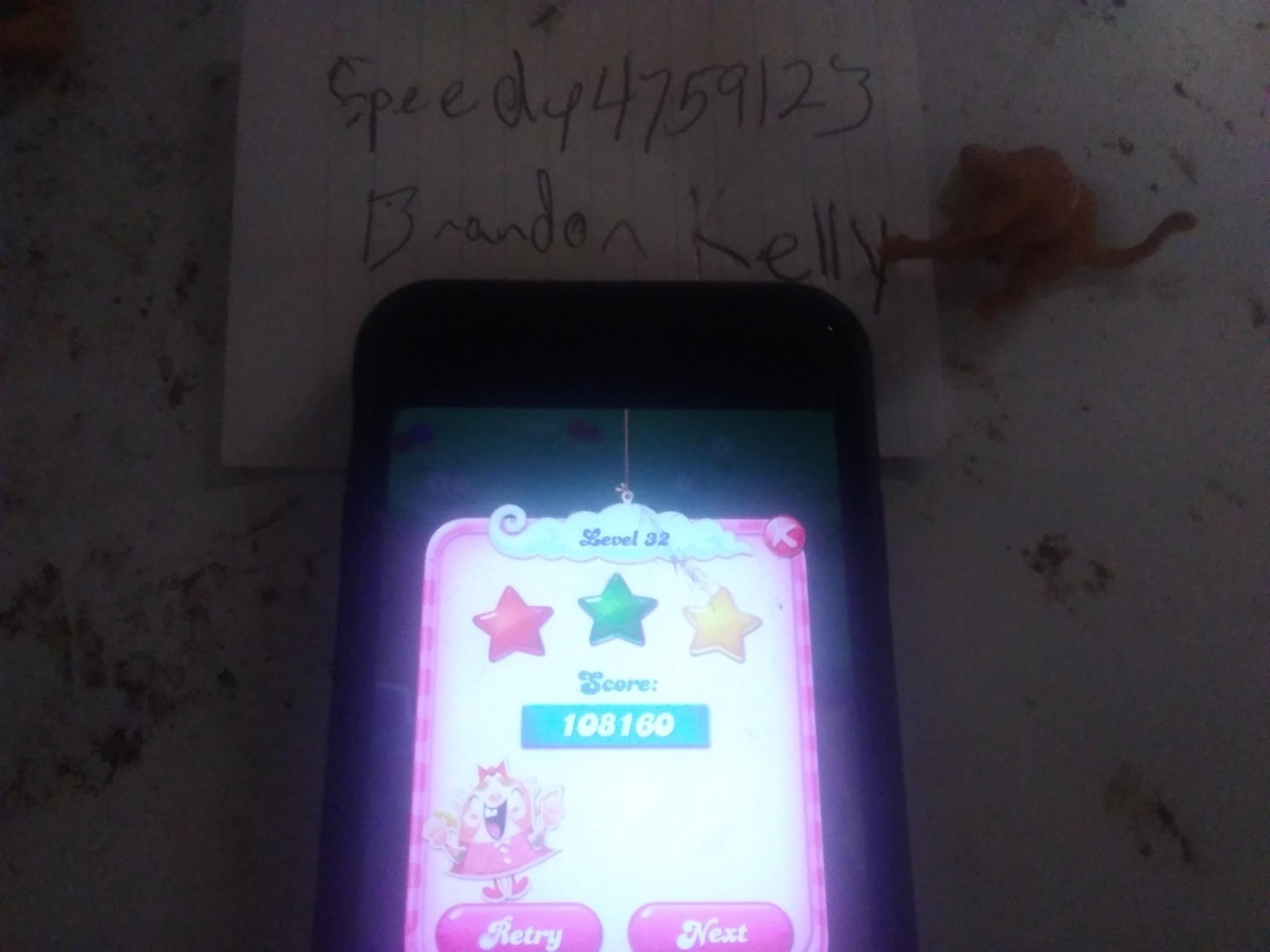 speedy4759123: Candy Crush Saga: Level 032 (iOS) 108,160 points on 2019-08-05 22:48:47