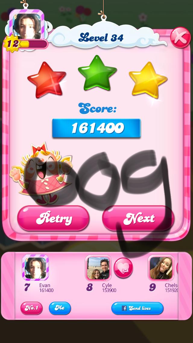 OOG: Candy Crush Saga: Level 034 (iOS) 161,400 points on 2018-03-05 16:31:25