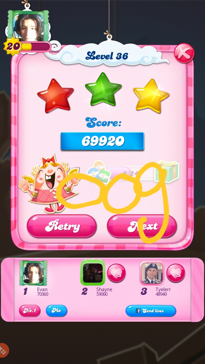OOG: Candy Crush Saga: Level 036 (Android) 69,920 points on 2018-08-18 04:03:17