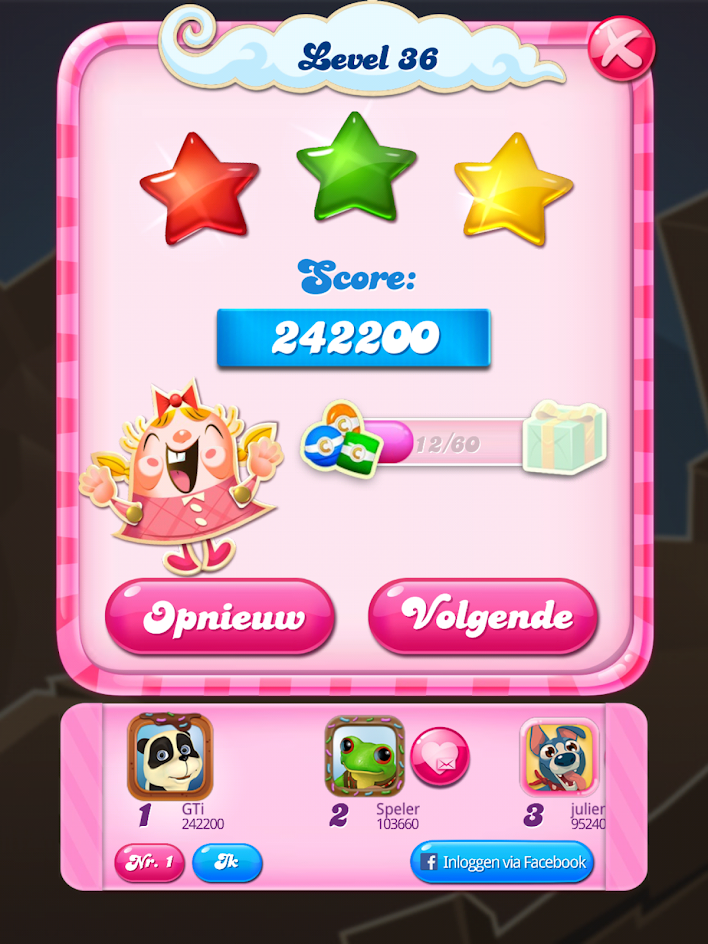 GTibel: Candy Crush Saga: Level 036 (Android) 242,200 points on 2019-08-21 05:46:10