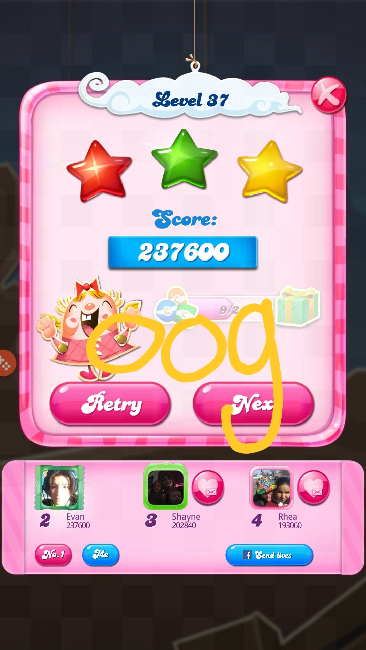 OOG: Candy Crush Saga: Level 037 (Android) 237,600 points on 2018-08-18 04:14:02