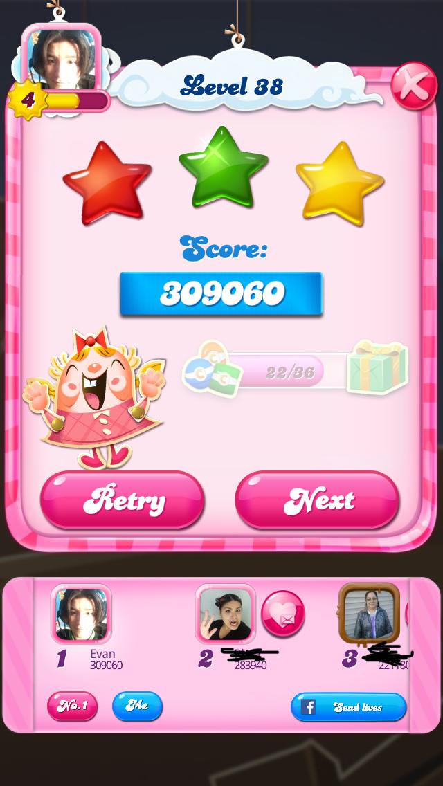OOG: Candy Crush Saga: Level 038 (iOS) 309,060 points on 2018-02-12 00:05:51