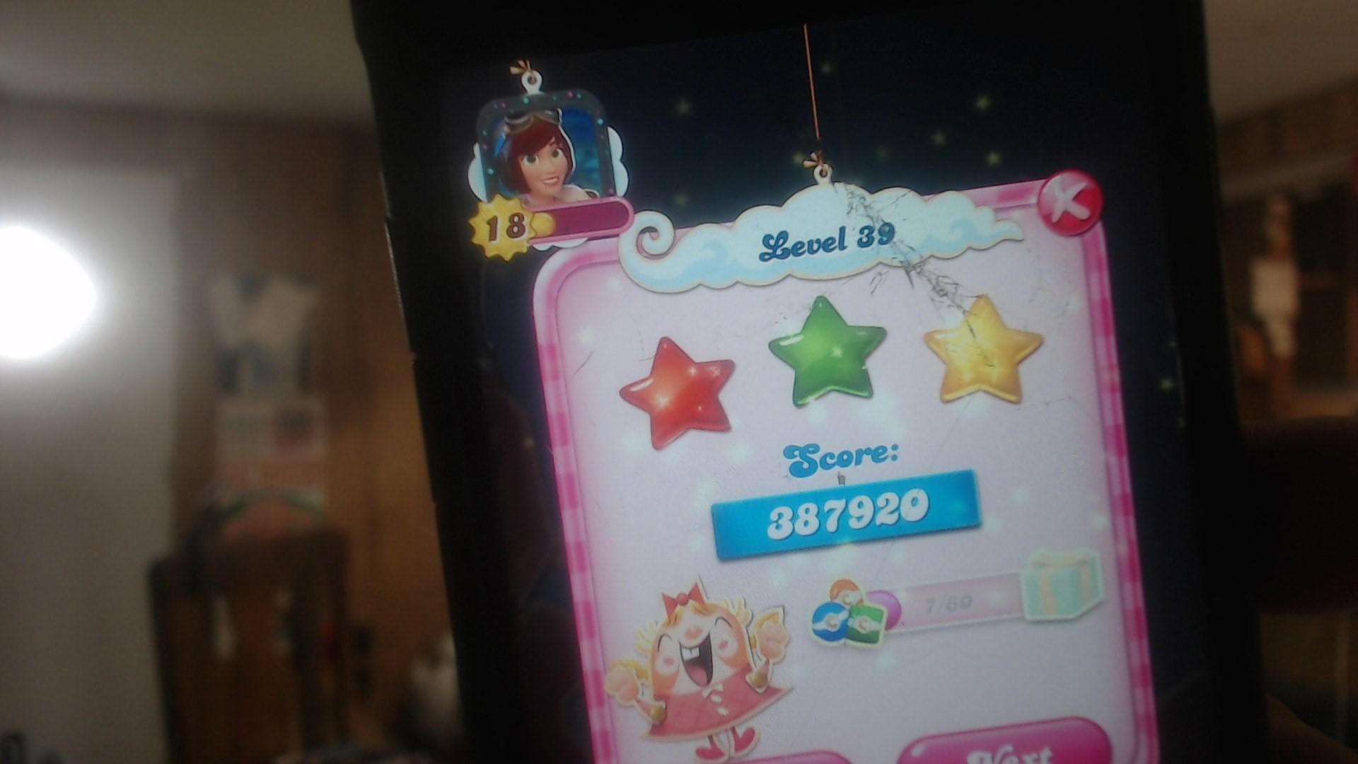 speedy4759123: Candy Crush Saga: Level 039 (iOS) 387,920 points on 2019-07-17 10:57:23