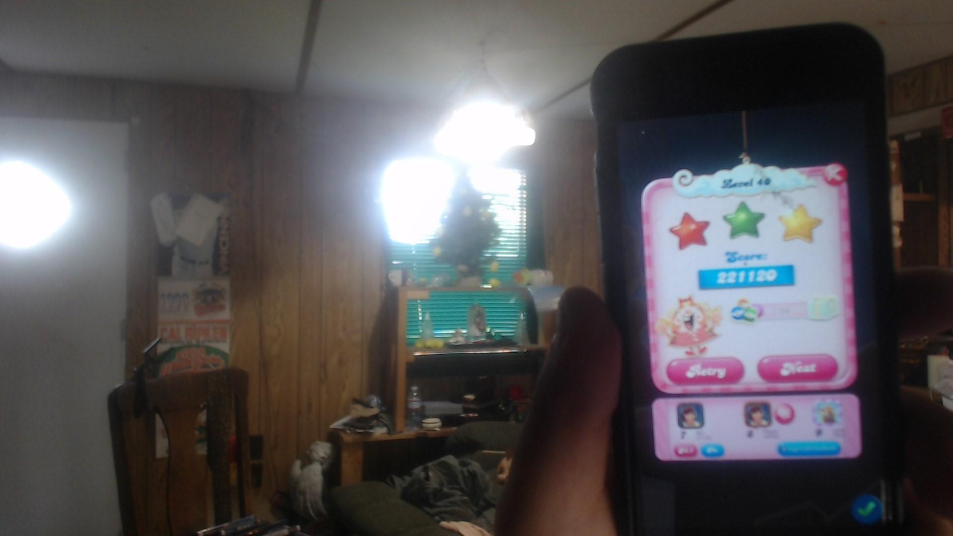 speedy4759123: Candy Crush Saga: Level 040 (iOS) 221,120 points on 2019-07-17 11:06:11