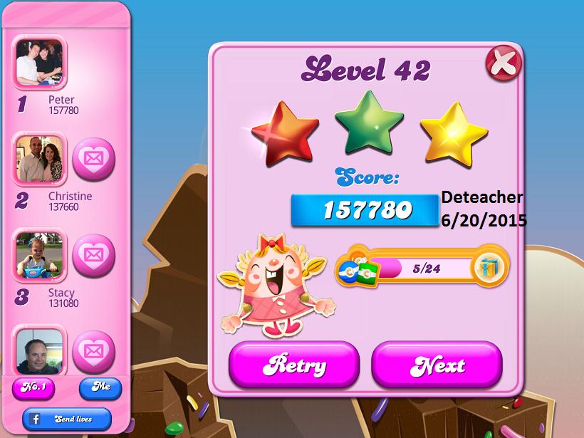 Deteacher: Candy Crush Saga: Level 042 (iOS) 157,780 points on 2015-06-20 15:37:40