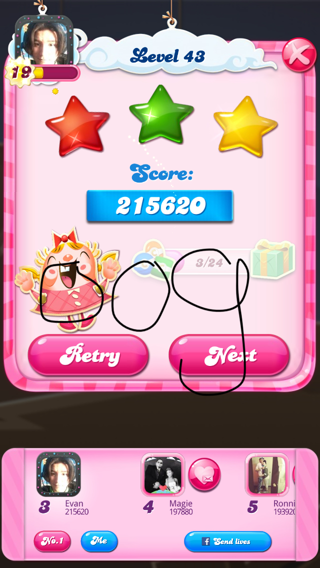 OOG: Candy Crush Saga: Level 043 (iOS) 215,620 points on 2018-04-07 19:52:34