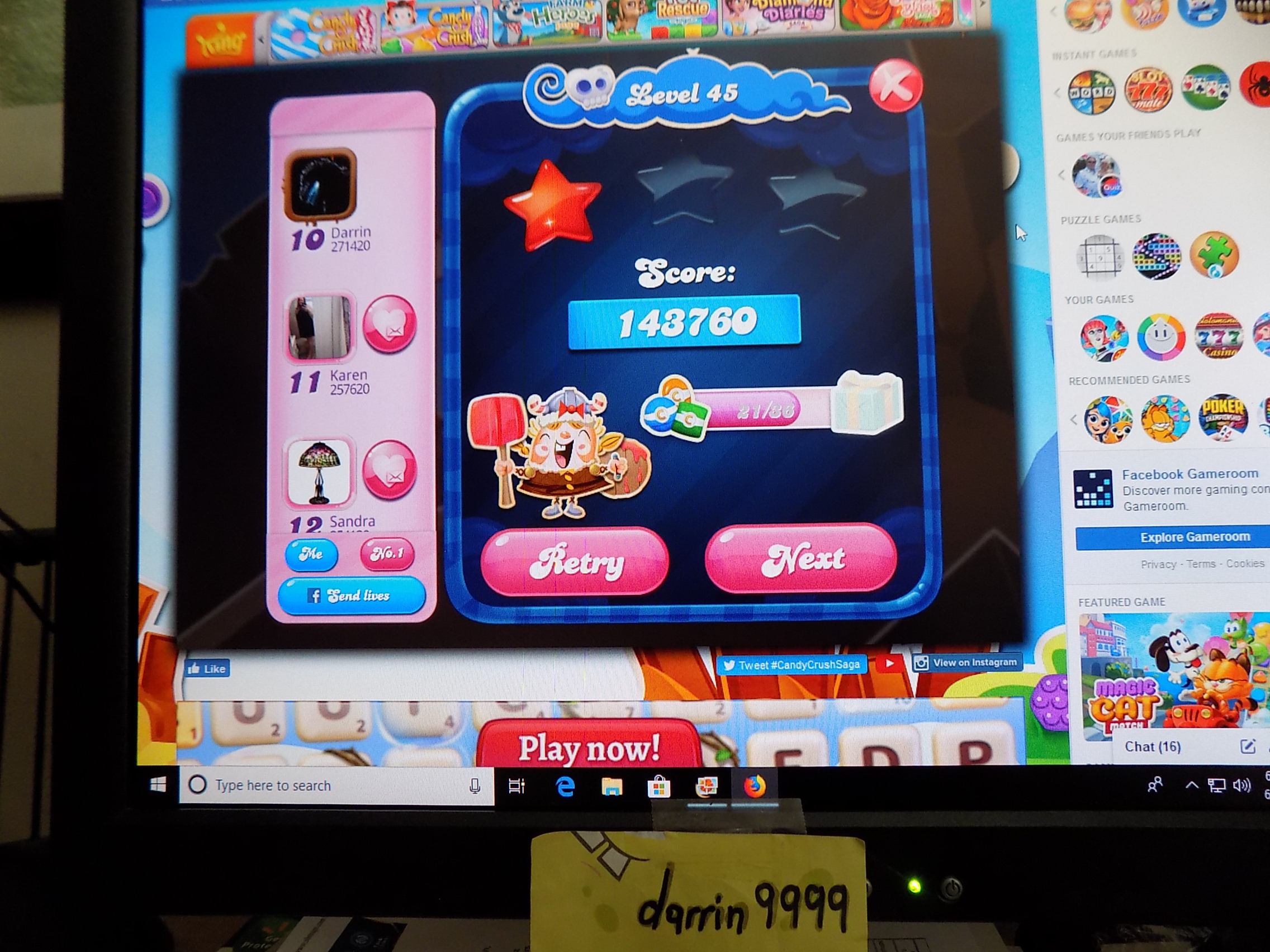 darrin9999: Candy Crush Saga: Level 045 (Web) 143,760 points on 2019-06-05 15:58:25