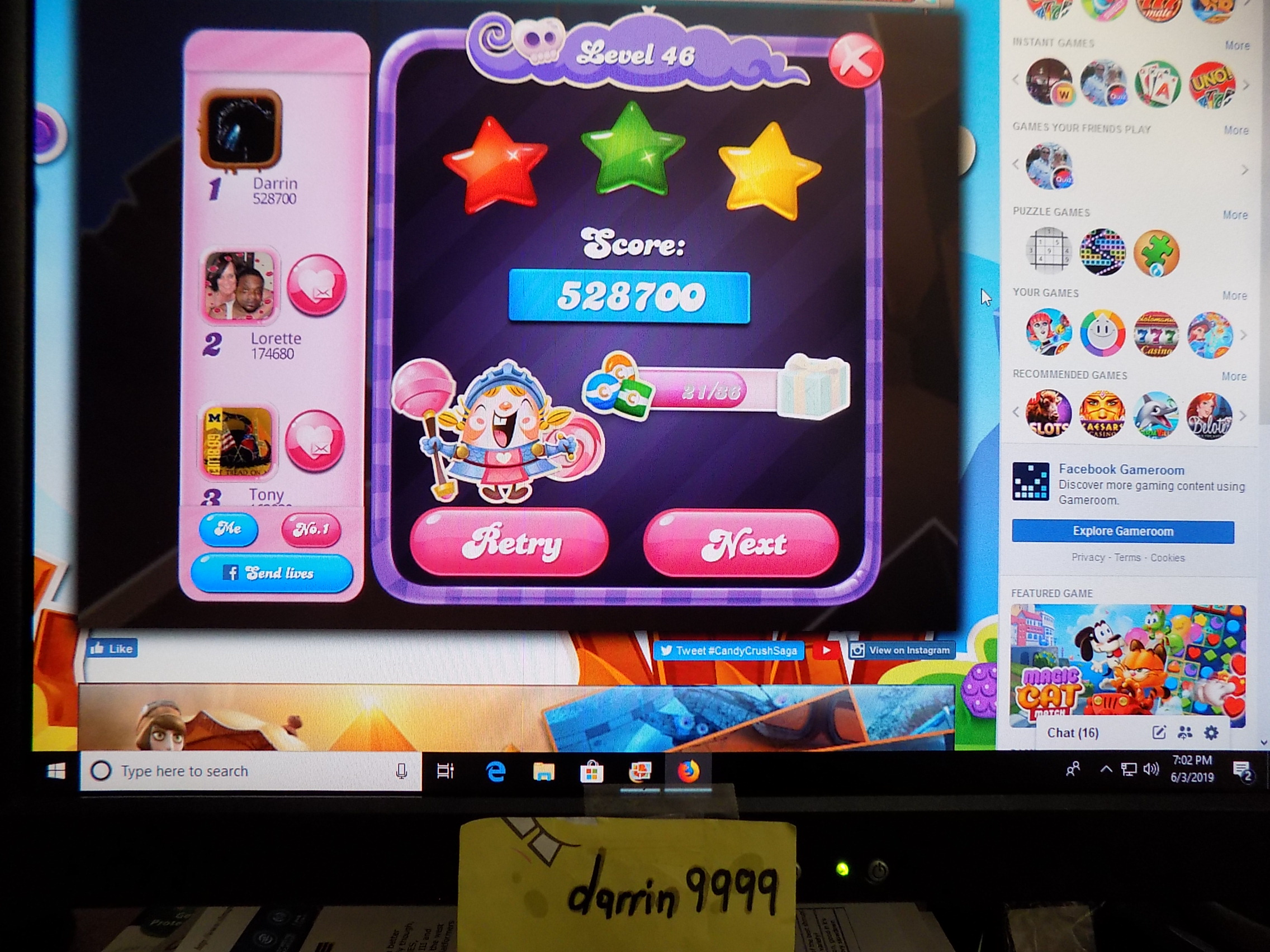 darrin9999: Candy Crush Saga: Level 046 (Web) 528,700 points on 2019-06-05 15:59:37
