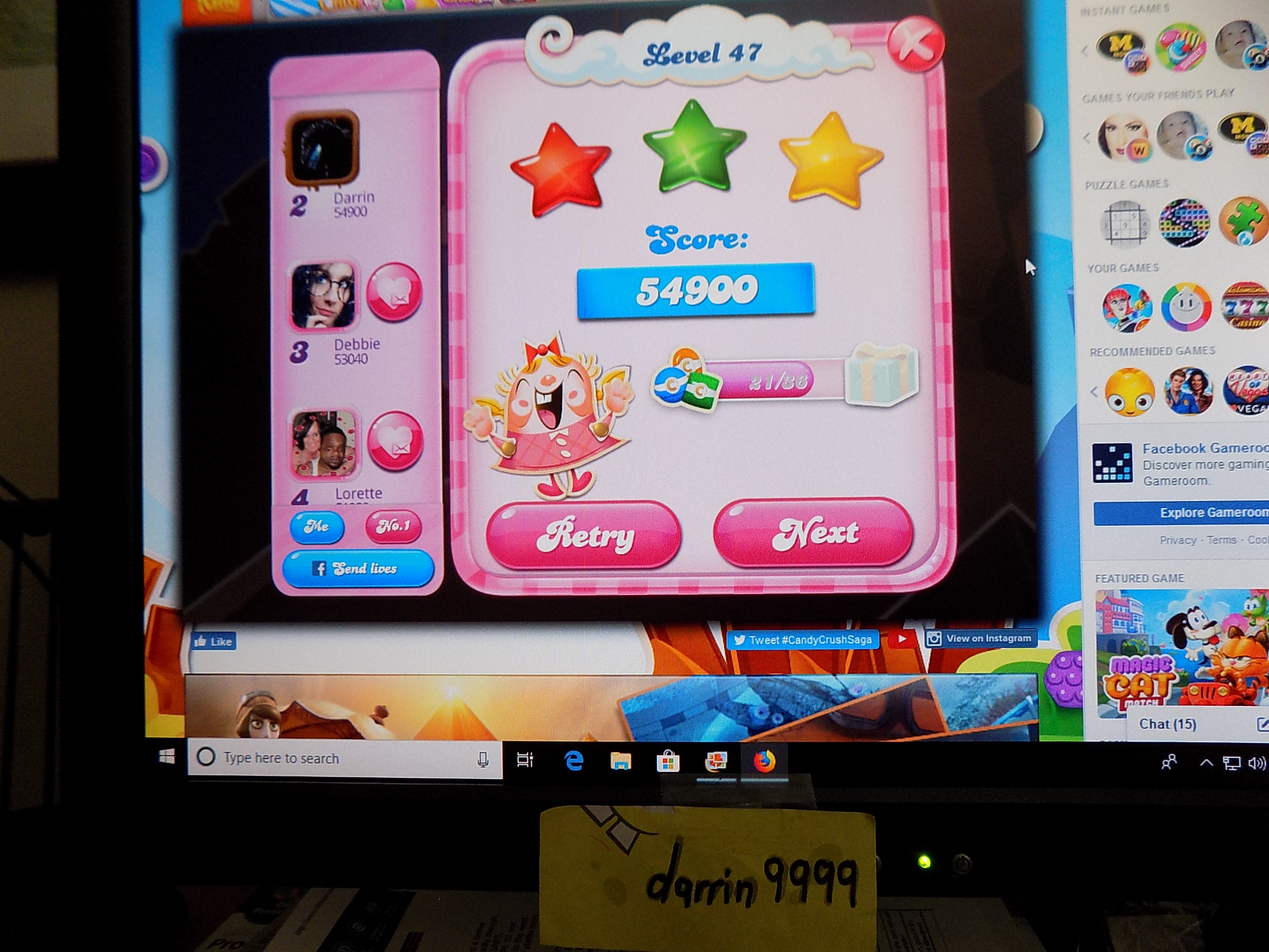 darrin9999: Candy Crush Saga: Level 047 (Web) 54,900 points on 2019-06-05 16:00:46