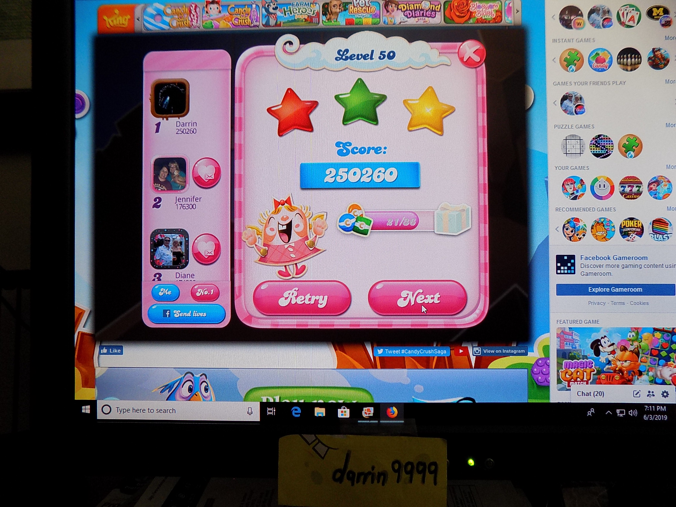 darrin9999: Candy Crush Saga: Level 050 (Web) 250,260 points on 2019-06-05 16:03:48