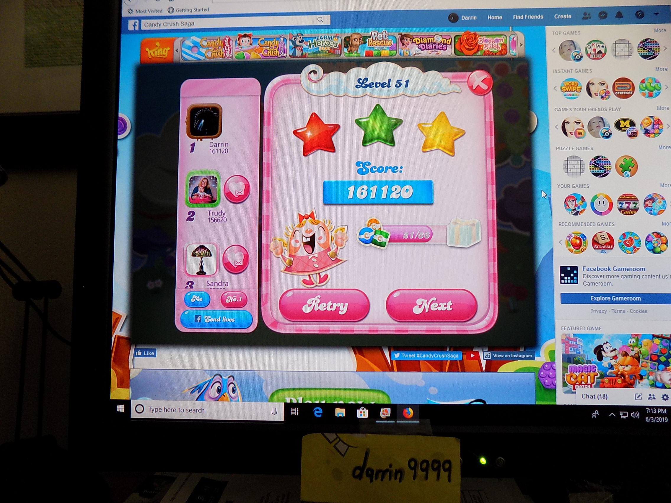 darrin9999: Candy Crush Saga: Level 051 (Web) 161,120 points on 2019-06-12 15:31:51