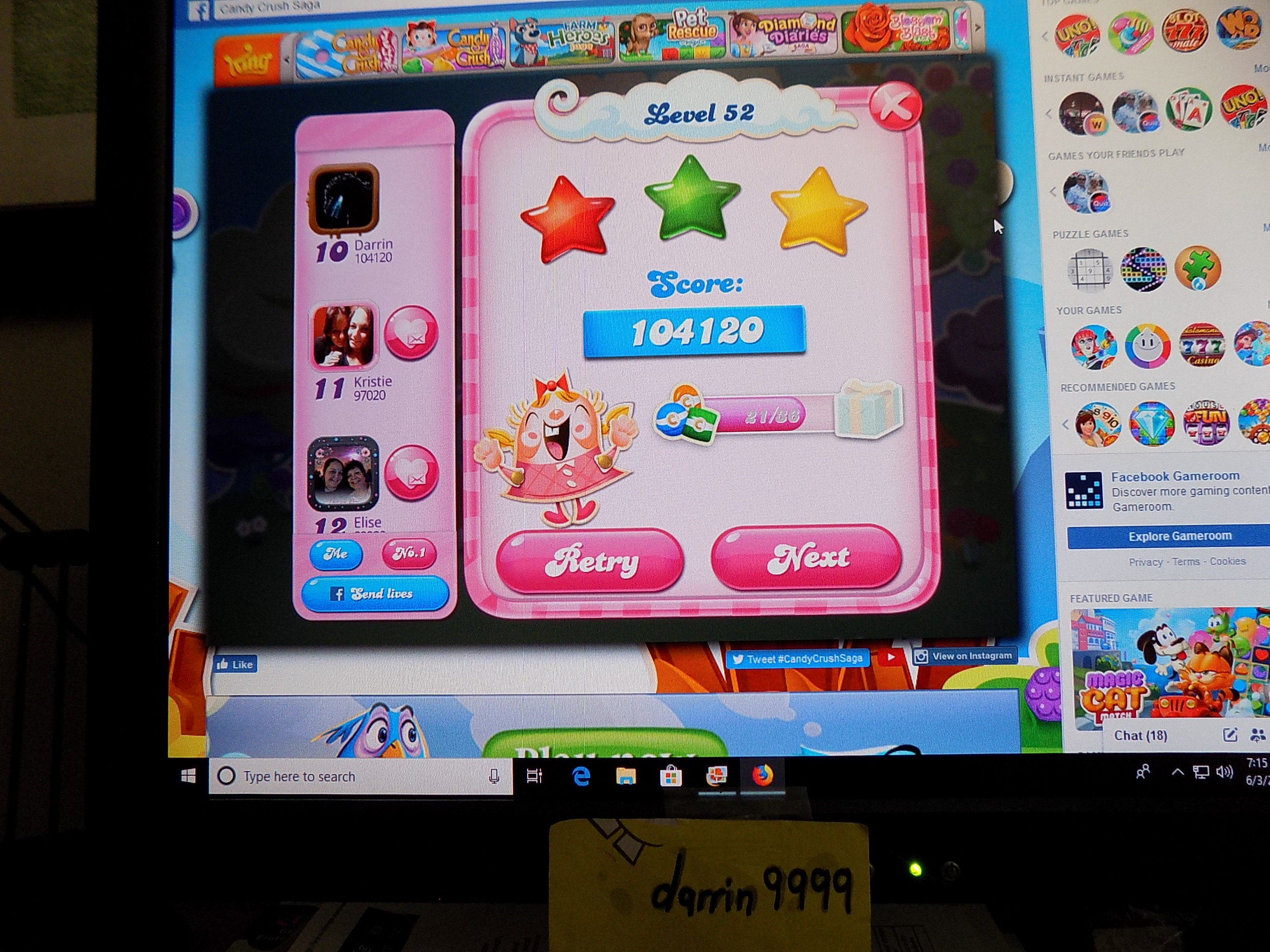 darrin9999: Candy Crush Saga: Level 052 (Web) 104,120 points on 2019-06-12 16:00:01