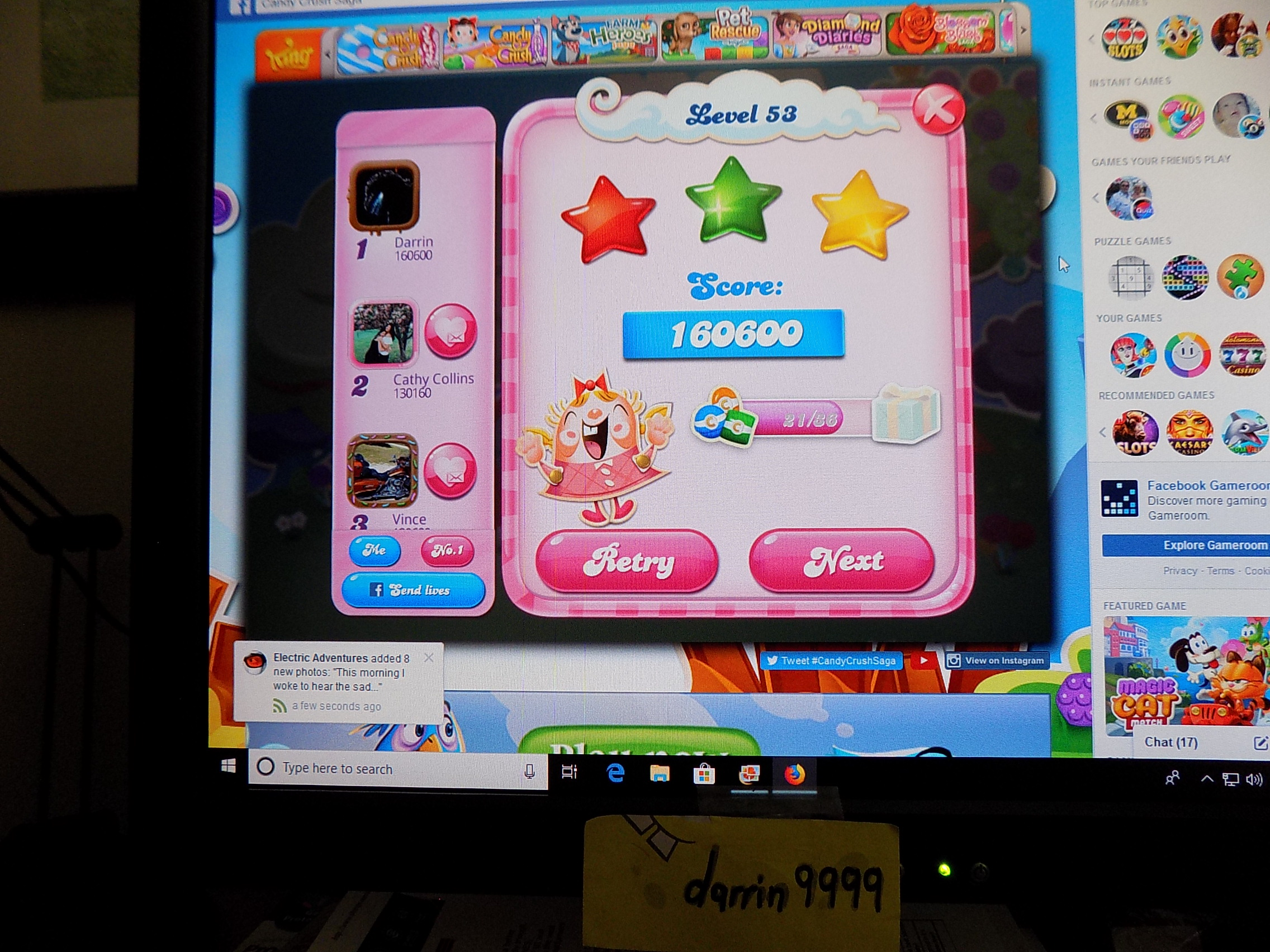 darrin9999: Candy Crush Saga: Level 053 (Web) 160,600 points on 2019-06-12 16:00:55