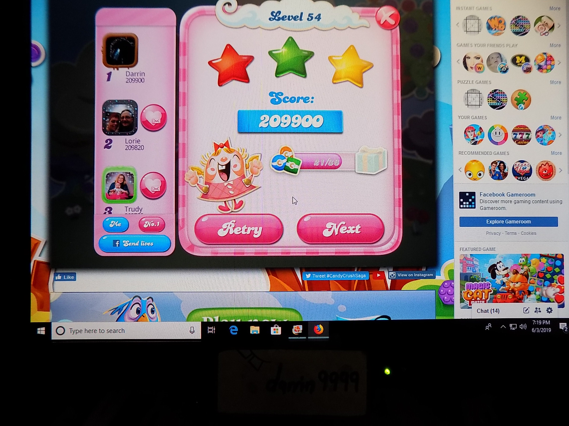 darrin9999: Candy Crush Saga: Level 054 (Web) 209,900 points on 2019-06-12 16:01:42