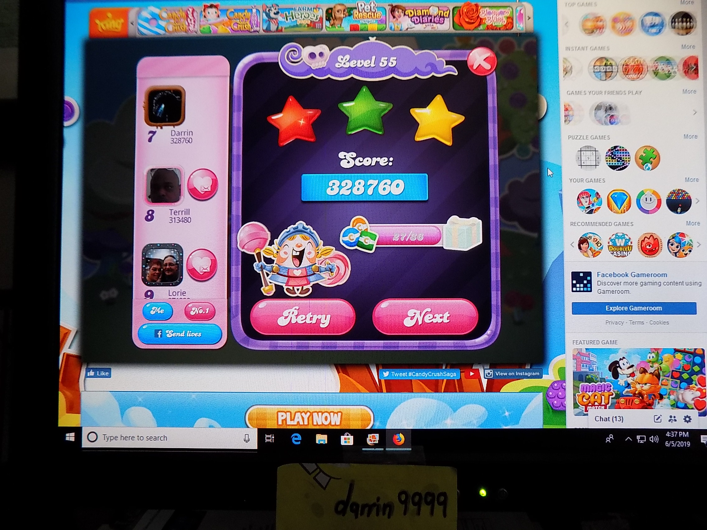 darrin9999: Candy Crush Saga: Level 055 (Web) 328,760 points on 2019-06-12 16:03:01