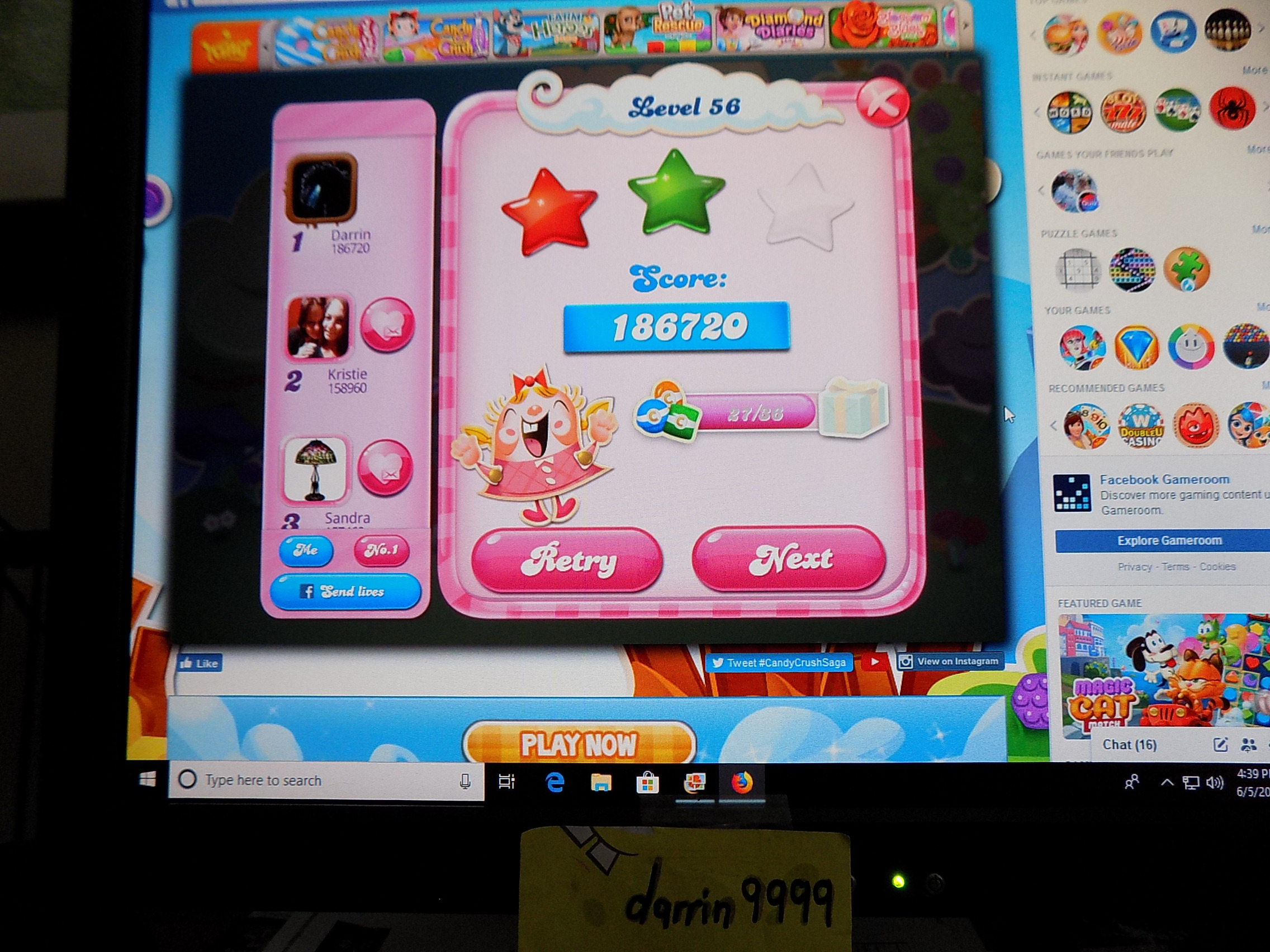 darrin9999: Candy Crush Saga: Level 056 (Web) 186,720 points on 2019-06-12 16:03:55