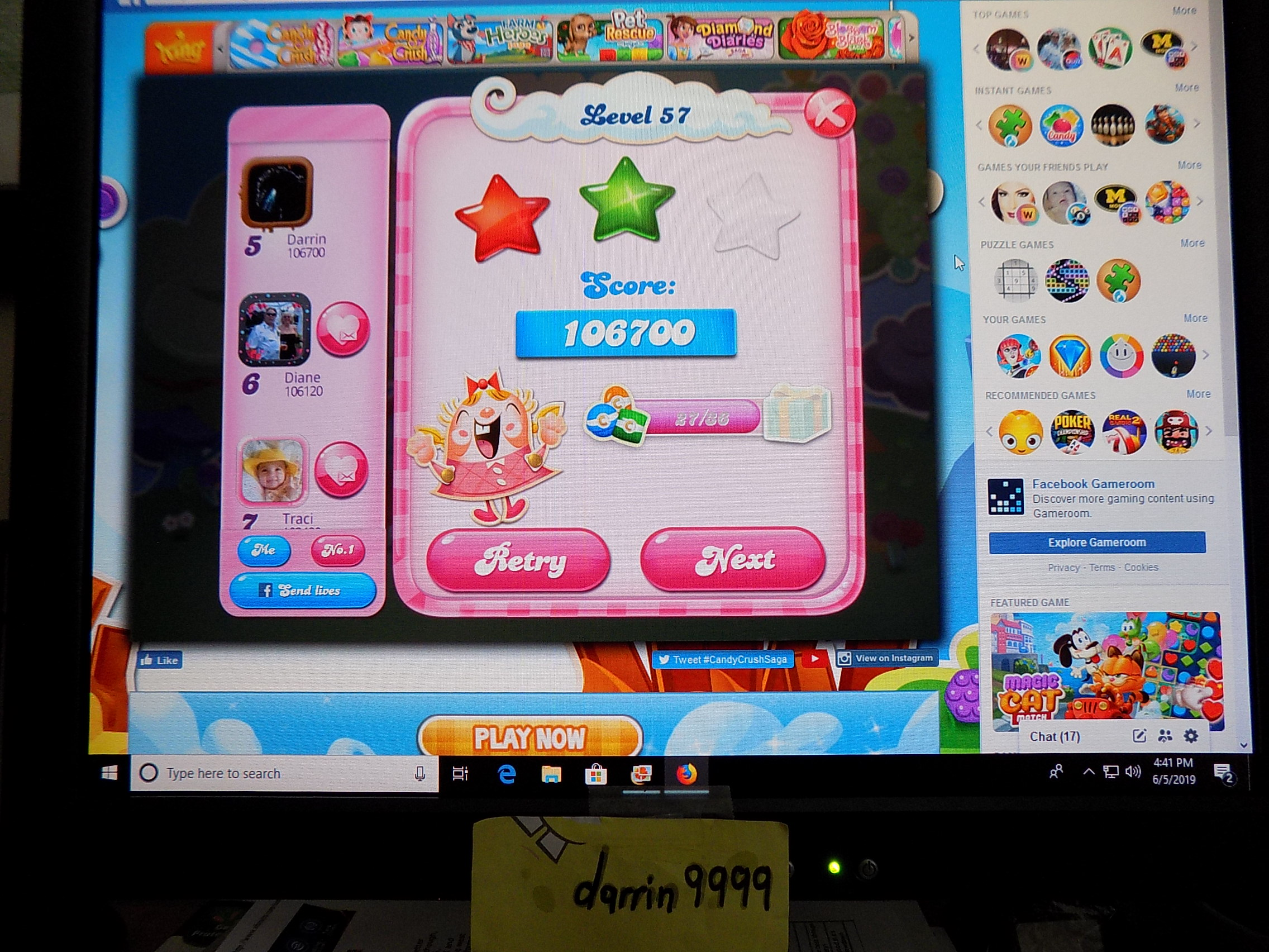 darrin9999: Candy Crush Saga: Level 057 (Web) 106,700 points on 2019-06-12 16:04:49