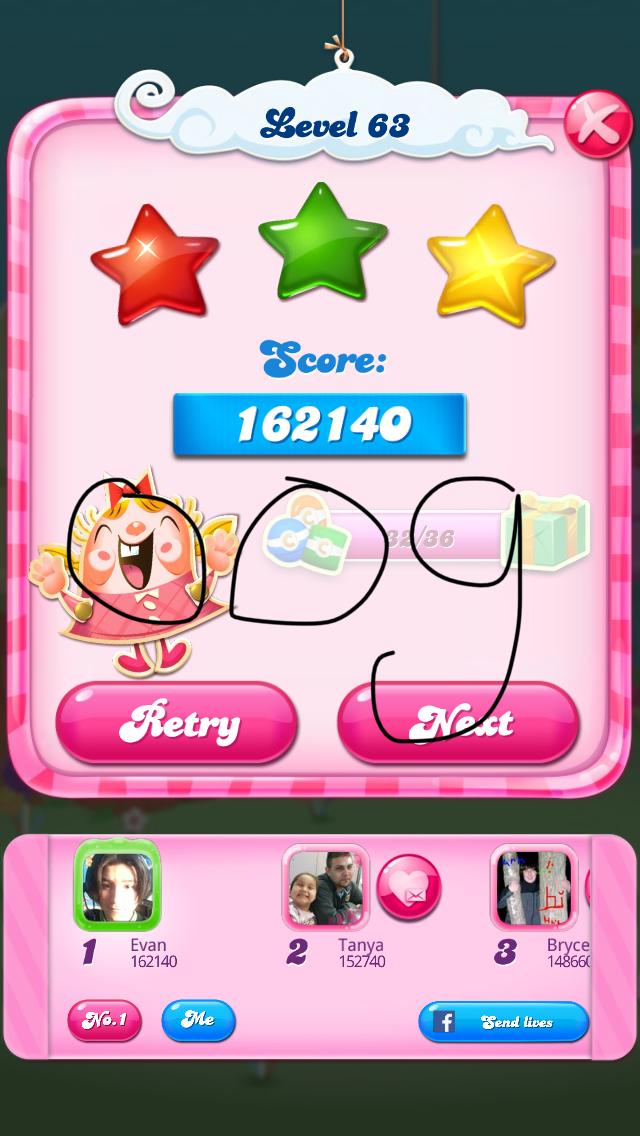 OOG: Candy Crush Saga: Level 063 (iOS) 162,140 points on 2018-02-12 00:50:42
