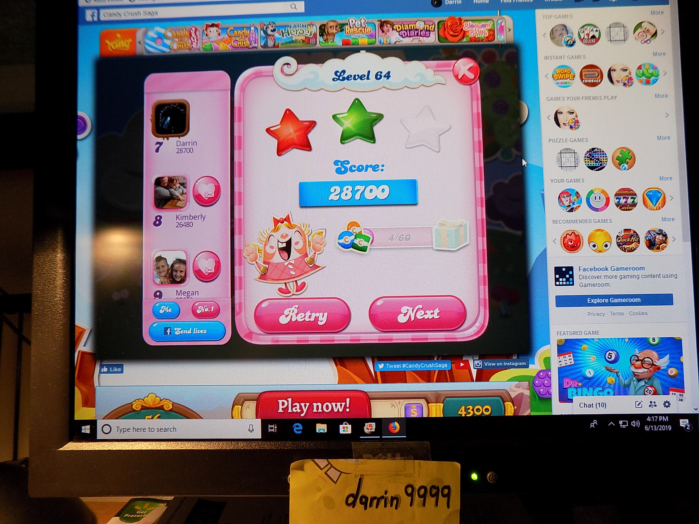 darrin9999: Candy Crush Saga: Level 064 (Web) 28,700 points on 2019-06-13 17:32:27