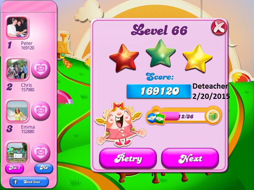 Deteacher: Candy Crush Saga: Level 066 (iOS) 169,120 points on 2015-06-20 15:22:47
