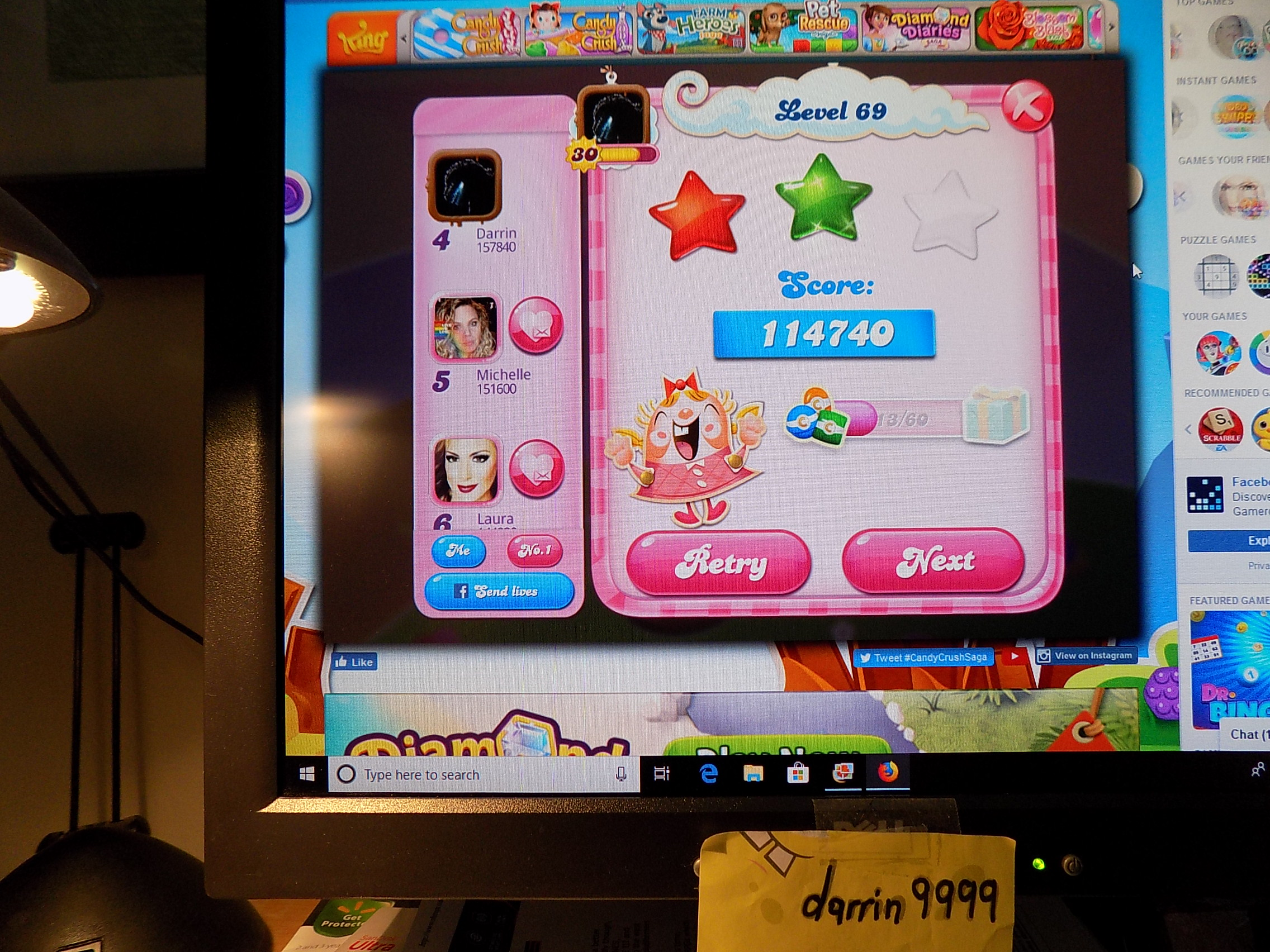 darrin9999: Candy Crush Saga: Level 069 (Web) 114,740 points on 2019-06-13 17:37:45