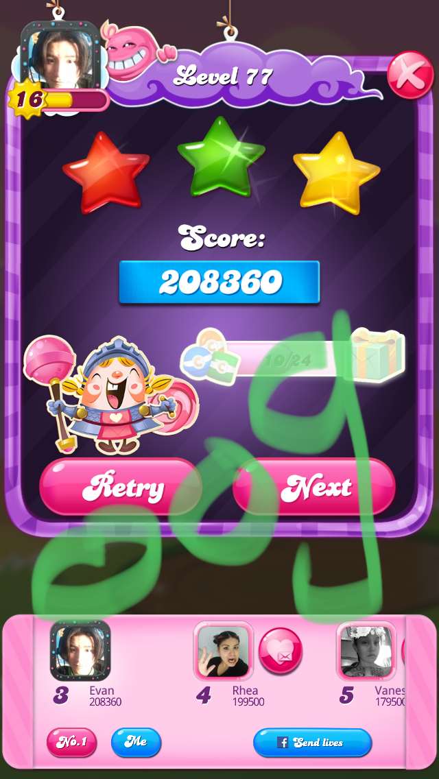 Candy Crush Saga: Level 077 208,360 points