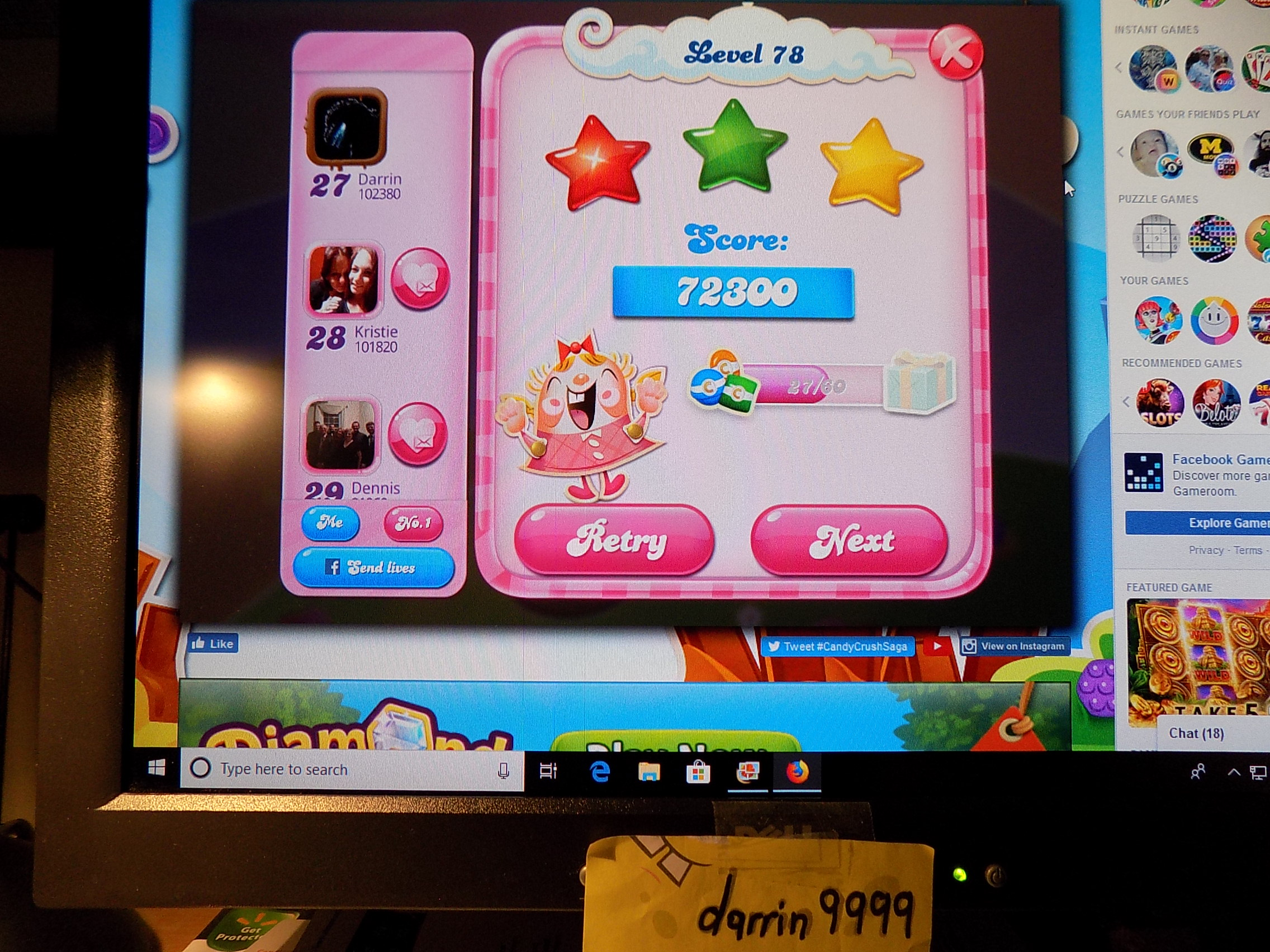 darrin9999: Candy Crush Saga: Level 078 (Web) 72,300 points on 2019-06-13 17:47:34