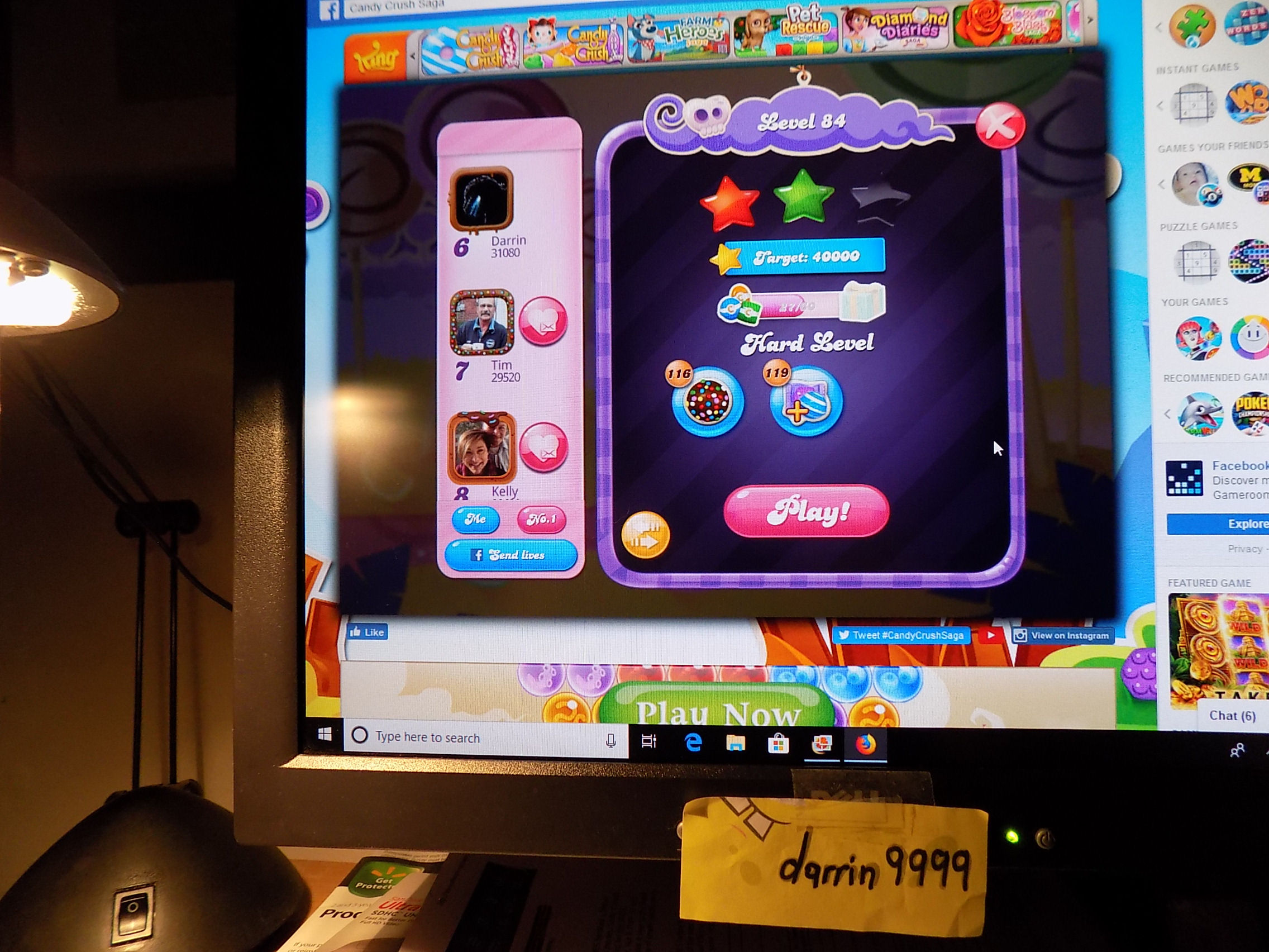 darrin9999: Candy Crush Saga: Level 084 (Web) 31,080 points on 2019-06-13 17:54:01